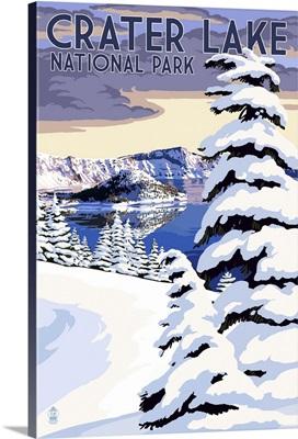 Crater Lake National Park, Oregon - Winter Scene: Retro Travel Poster