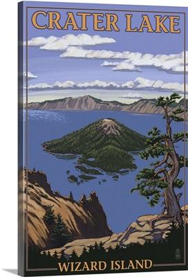Crater Lake, Oregon - Wizard Island View: Retro Travel Poster