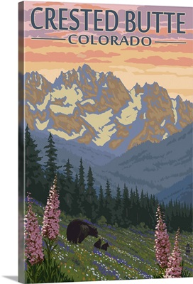 Crested Butte, Colorado - Bears and Spring Flowers: Retro Travel Poster