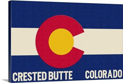 Crested Butte, Colorado - Colorado State Flag: Retro Travel Poster