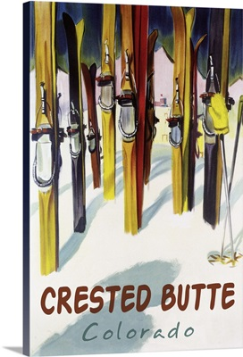 Crested Butte, Colorado - Colorful Skis: Retro Travel Poster