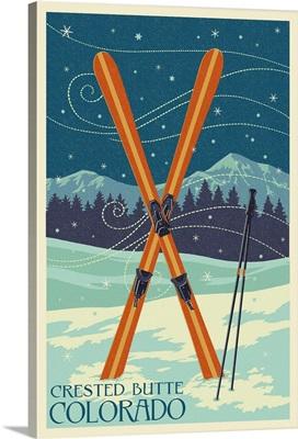 Crested Butte, Colorado - Crossed Skis - Letterpress: Retro Travel Poster
