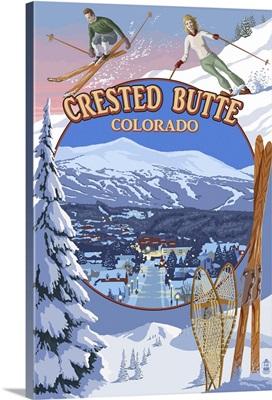 Crested Butte, Colorado - Ski Montage: Retro Travel Poster