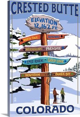 Crested Butte, Colorado - Ski Run Signpost: Retro Travel Poster