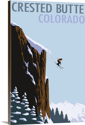 Crested Butte, Colorado - Skier Jumping: Retro Travel Poster