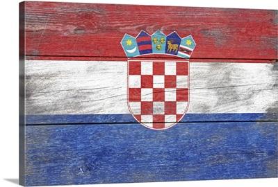 Croatia Country Flag on Wood