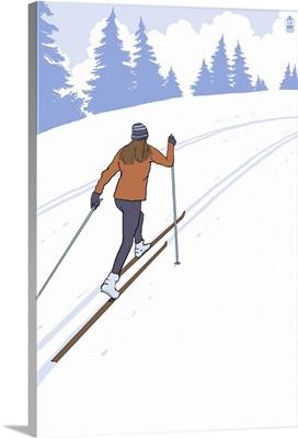 Cross Country Skier Stylized: Retro Poster Art