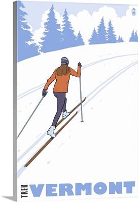 Cross Country Skier - Vermont: Retro Travel Poster
