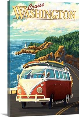 Cruise Washington - VW Van: Retro Travel Poster