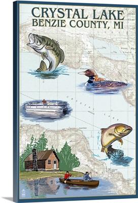 Crystal Lake, Michigan - Lake Chart: Retro Travel Poster