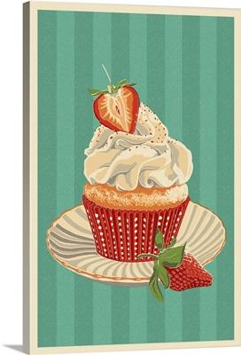 Cupcake and Strawberry - Letterpress: Retro Art Poster
