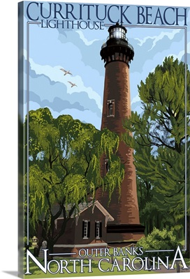 Currituck Beach Lighthouse Day Scene - Outer Banks, North Carolina: Retro Travel Poster