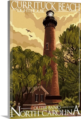 Currituck Beach Lighthouse - Outer Banks, North Carolina: Retro Travel Poster