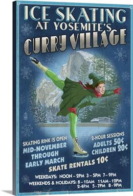 Curry Village Ice Skater - Yosemite National Park, California: Retro Travel Poster