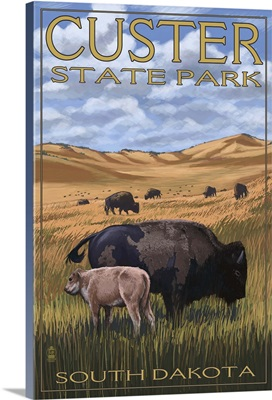 Custer State Park - Buffalo Herd and Calf: Retro Travel Poster