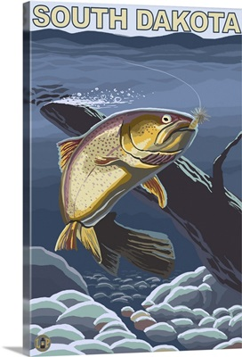 Cutthroat Trout Fishing - South Dakota: Retro Travel Poster