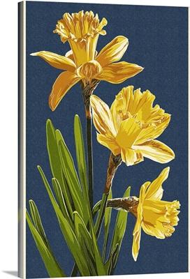 Daffodils - Letterpress - Blue Background: Retro Poster Art