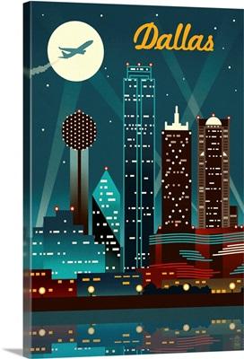 Dallas, Texas, Retro Skyline
