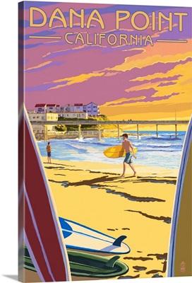 Dana Point, California - Ocean Beach Pier: Retro Travel Poster