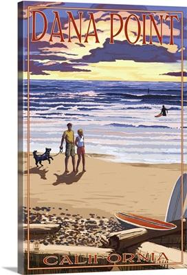 Dana Point, California - Sunset Beach Scene: Retro Travel Poster