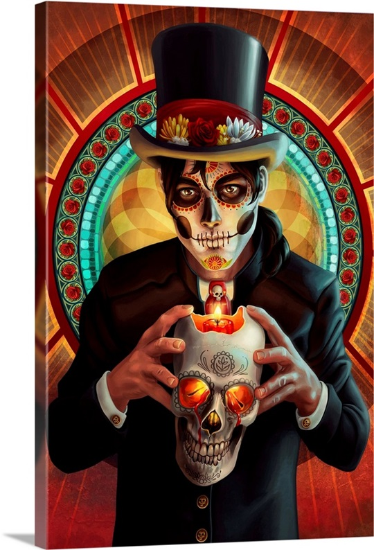 Day Of The Dead Wall Art day of the dead, man and candle wall art, canvas prints, framed