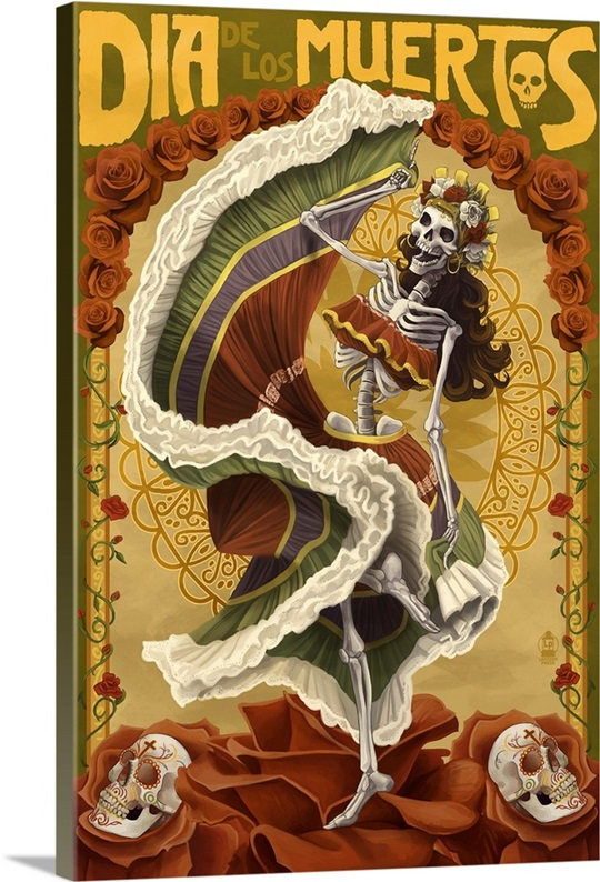 Day Of The Dead Wall Art day of the dead - skeleton dancing: retro travel poster wall art