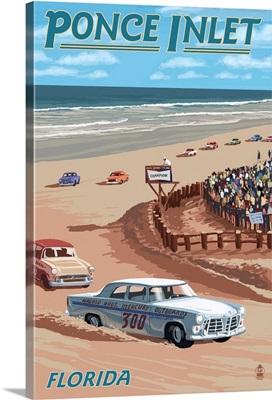 Dayton Beach Race Scene, Ponce Inlet, FL: Retro Travel Poster