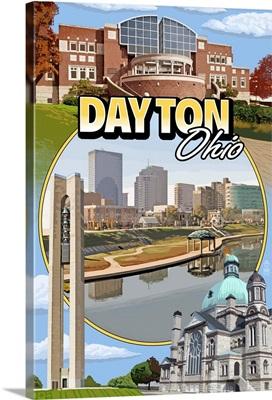 Dayton, Ohio - Montage Scenes: Retro Travel Poster
