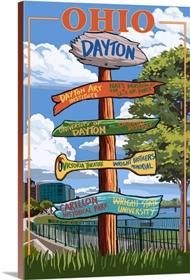 Dayton, Ohio - Signpost Destinations: Retro Travel Poster