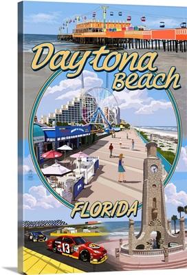 Daytona Beach, FL - Daytona Beach Montage: Retro Travel Poster