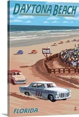 Daytona Beach, FL - Daytona Beach Racing Scene: Retro Travel Poster