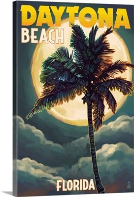 Daytona Beach, Florida - Palms and Moon: Retro Travel Poster