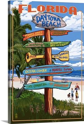 Daytona Beach, Florida - Sign Destinations: Retro Travel Poster