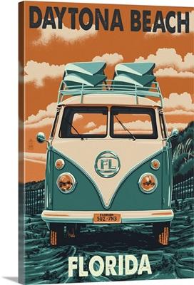 Daytona Beach, Florida - VW Van Letterpress: Retro Travel Poster