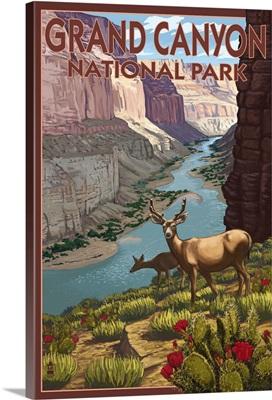 Deer Scene - Grand Canyon National Park: Retro Travel Poster