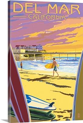 Del Mar, California - Beach Surfers and Pier: Retro Travel Poster