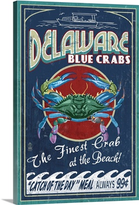 Delaware Blue Crabs Vintage Sign - Best at the Beach: Retro Travel Poster