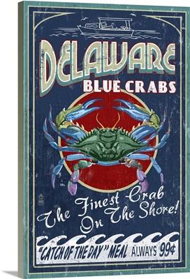 Delaware Blue Crabs - Vintage Sign: Retro Travel Poster