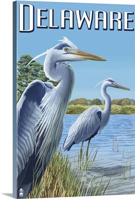 Delaware Blue Herons Scene: Retro Travel Poster