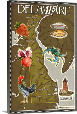 Delaware Map and Icons: Retro Travel Poster
