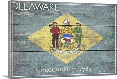 Delaware State Flag on Wood