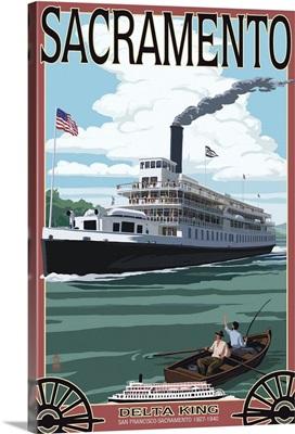 Delta King Riverboat - Sacramento, CA: Retro Travel Poster