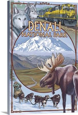 Denali National Park, AK - Train Version: Retro Travel Poster