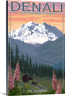 Denali National Park, Alaska - Bears and Spring Flowers: Retro Travel Poster