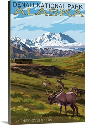 Denali National Park, Alaska - Caribou and Stoney Overlook: Retro Travel Poster