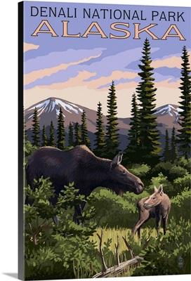 Denali National Park, Alaska - Moose and Calf: Retro Travel Poster