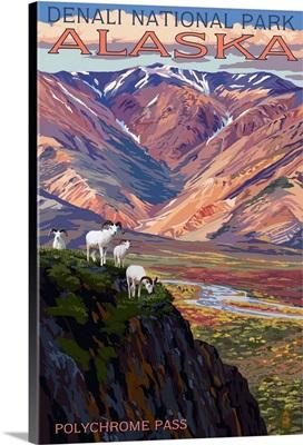 Denali National Park, Alaska - Polychrome Pass: Retro Travel Poster