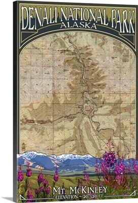 Denali National Park, Alaska - Topographical Map: Retro Travel Poster