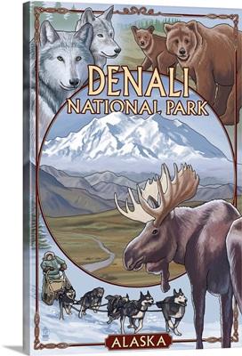 Denali National Park, Alaska Views: Retro Travel Poster