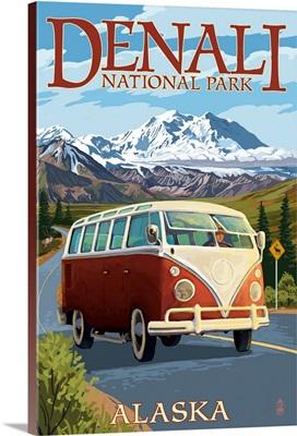 Denali National Park, Alaska - VW Van: Retro Travel Poster